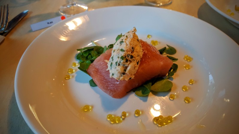 Beautiful cured trout with crab